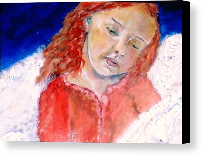 Angels Canvas Print featuring the painting watching the Dreamers by J Bauer