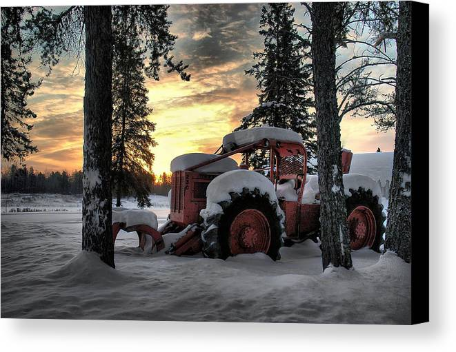Landscape Canvas Print featuring the photograph Skidder Sunrise by Heather Rivet