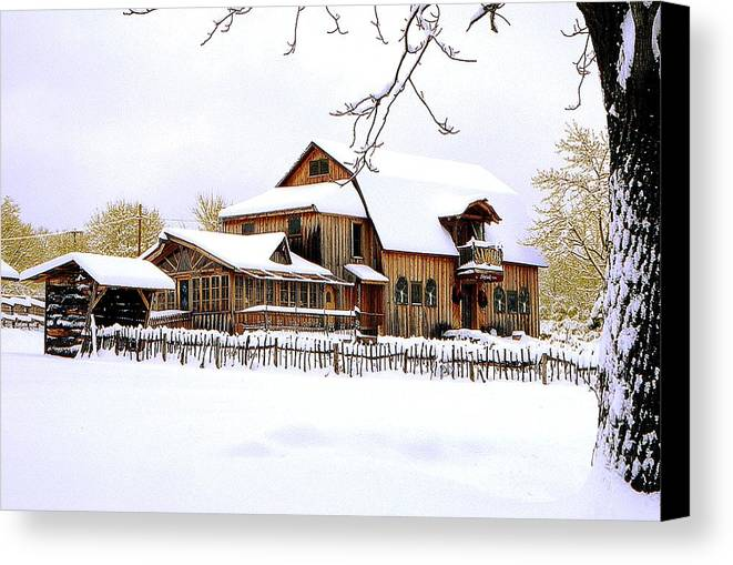 Barn Canvas Print featuring the photograph Skyland Farms In Winter by Roger Soule