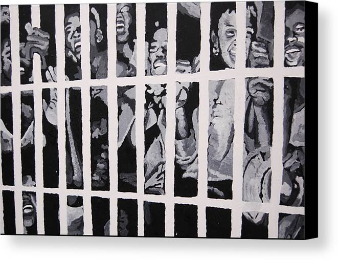 Civil Rights Canvas Print featuring the painting Some Of The 210 Demonstrators Jailed Wave From Their Cell 1964 by Lauren Luna