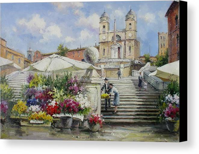 Italy Canvas Print featuring the painting Spanish Steps, Rome by Lucio Campana