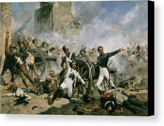The 2nd Of May In Madrid Canvas Print featuring the painting Spanish Uprising Against Napoleon In Spain by Joaquin Sorolla y Bastida
