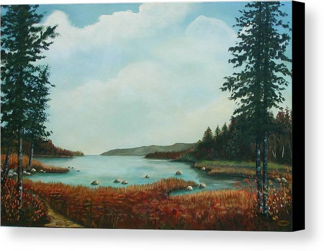 Original Acrylic Landscape Canvas Print featuring the painting St Annes Bay Nova Scotia by Sharon Steinhaus