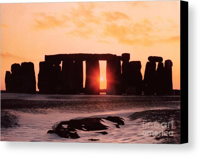 Stonehenge Canvas Print featuring the painting Stonehenge Winter Solstice by English School