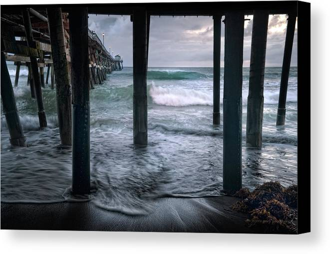 San Clemente Canvas Print featuring the photograph Stormy Pier by Gary Zuercher