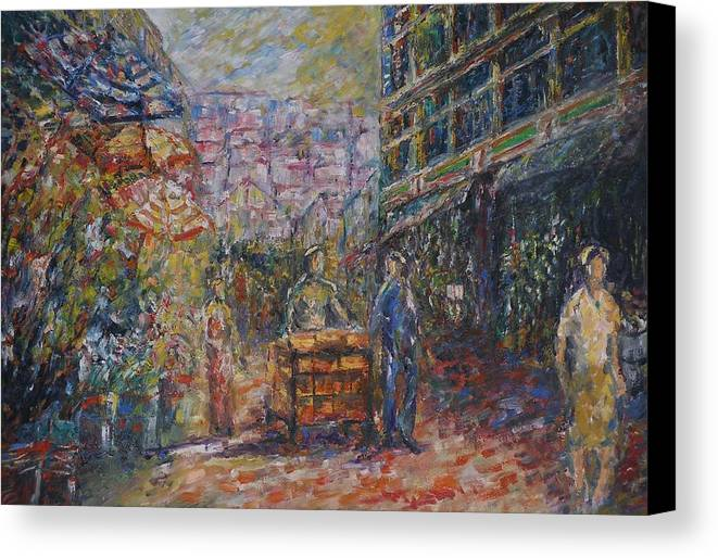 Street Canvas Print featuring the painting Street Peddler - Kl Chinatown by Wendy Chua