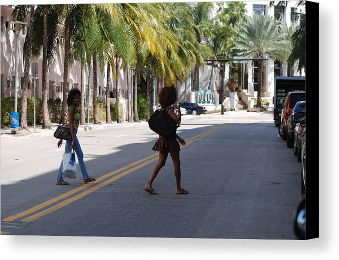Girls Canvas Print featuring the photograph Street Walkers by Rob Hans