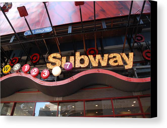 Neon Canvas Print featuring the photograph Subway by Rob Hans