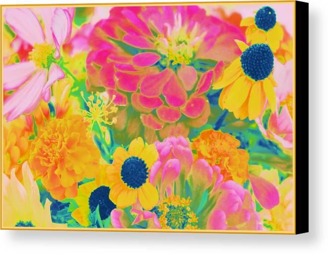 Popart Canvas Print featuring the photograph Summer Blossoms - Pop Art by Dora Sofia Caputo Photographic Design and Fine Art