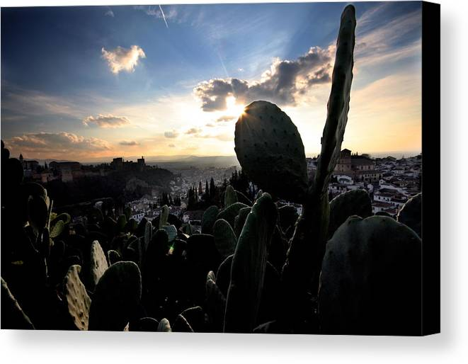 Alhambra Canvas Print featuring the photograph Sun Sets On The Alhambra by Jason Hochman