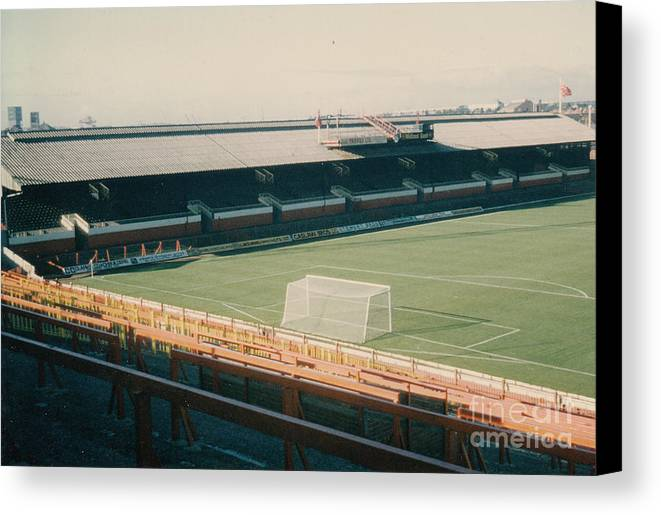 Canvas Print featuring the photograph Sunderland - Roker Park - Clock Stand 1 - Leitch - 1970s by Legendary Football Grounds