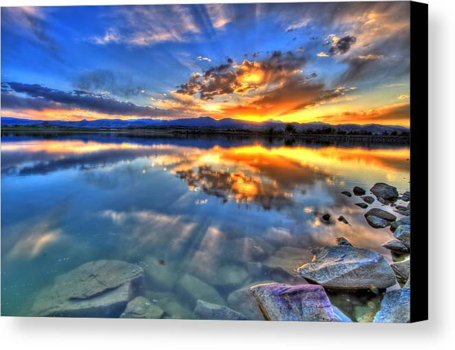 Colorado Canvas Print featuring the photograph Sunset Explosion by Scott Mahon
