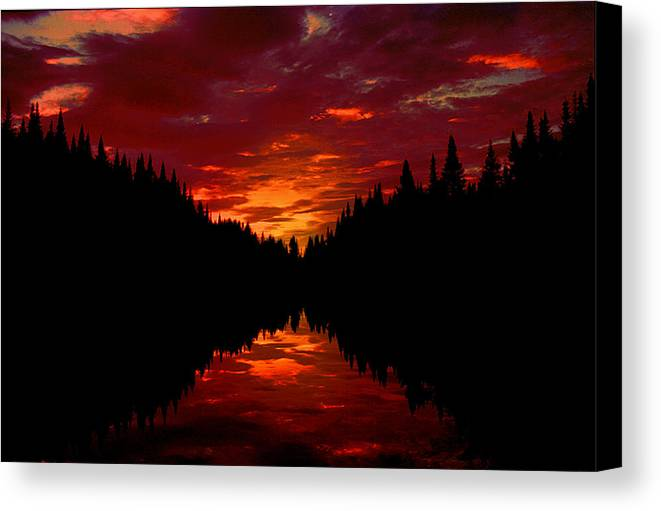 Silhouette Canvas Print featuring the photograph Sunset Over Wetlands by Roger Soule