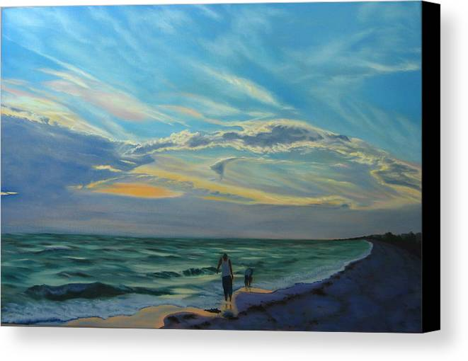 Seascape Canvas Print featuring the painting Sunset Treasure Hunt by Lea Novak