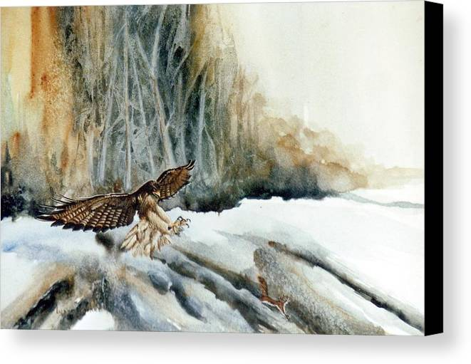 Redtail Hawk & Squirrel Canvas Print featuring the painting Supper Maybe by Lynne Parker