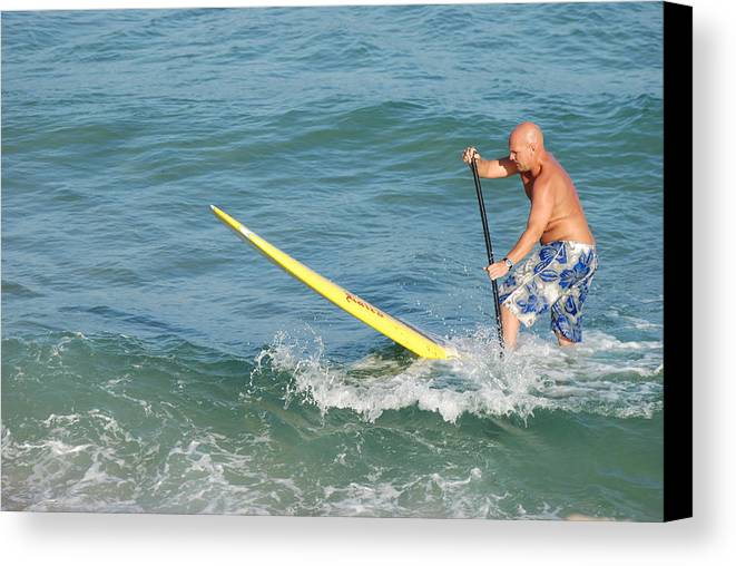 Sea Scape Canvas Print featuring the photograph Surfer Dude by Rob Hans