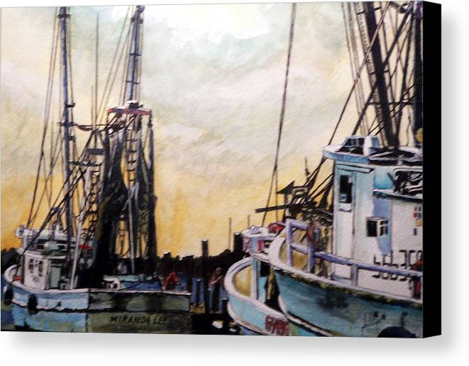 Shrimp Canvas Print featuring the painting Swansboro Shrimp Boats by Jim Phillips