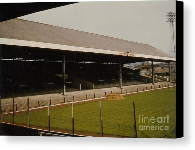 Canvas Print featuring the photograph Swansea - Vetch Field - South Stand 2 - 1970s by Legendary Football Grounds