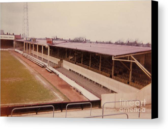 Canvas Print featuring the photograph Swindon - County Ground - Main Stand 1 - 1970 by Legendary Football Grounds