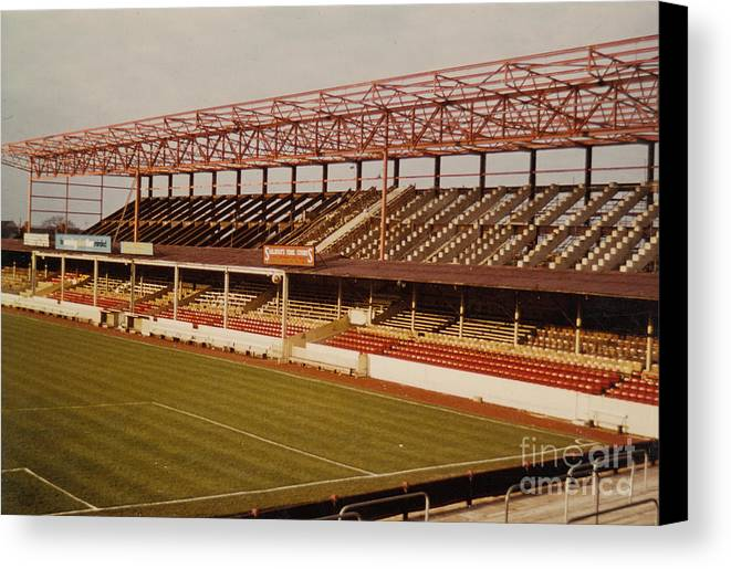 Canvas Print featuring the photograph Swindon - County Ground - Main Stand 2 - 1970s by Legendary Football Grounds