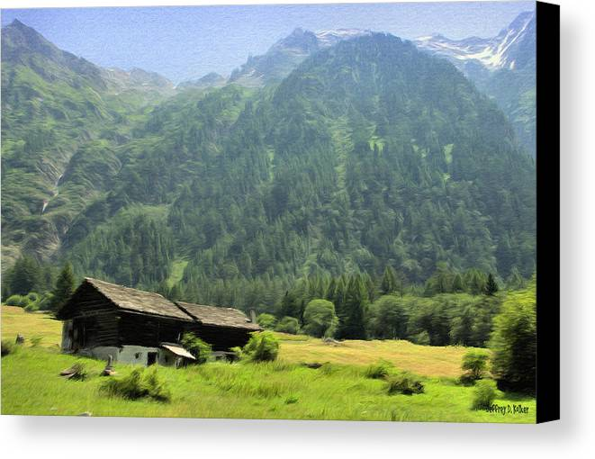 Switzerland Canvas Print featuring the painting Swiss Mountain Home by Jeffrey Kolker