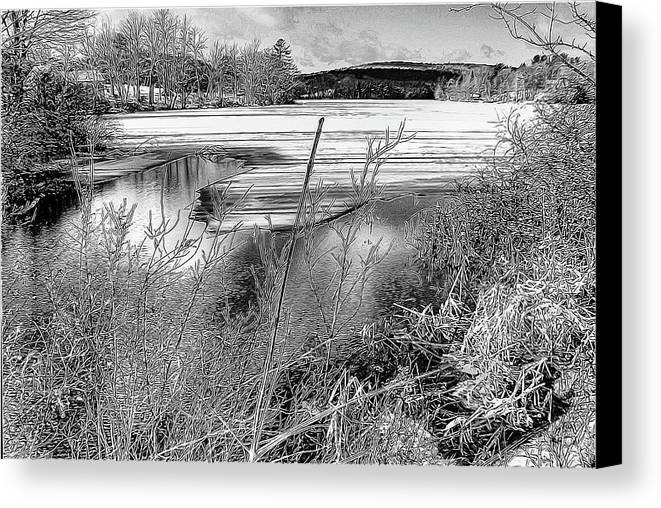 Black & White Canvas Print featuring the photograph Thawing Edge by Betsy Zimmerli