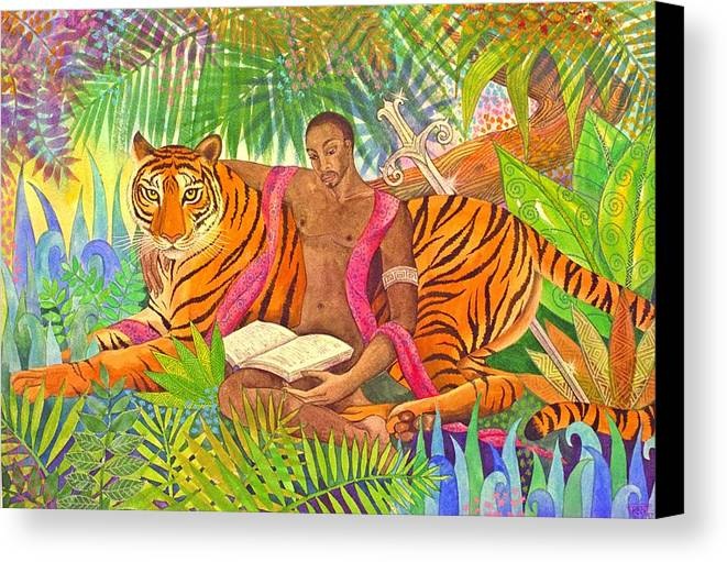 Tiger Warrior Jungle Tropical Sacred Wild Colourful Canvas Print featuring the painting The Alchemists by Jennifer Baird