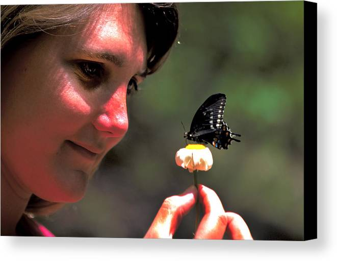 Woman Canvas Print featuring the photograph The Butterfly by Carl Purcell