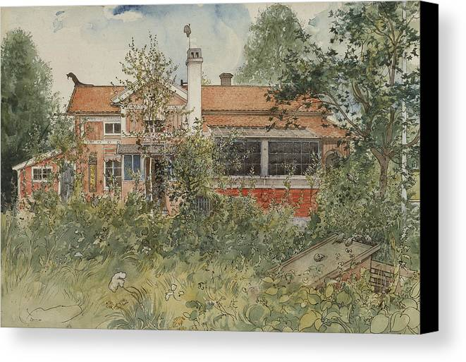 19th Century Art Canvas Print featuring the painting The Cottage. From A Home by Carl Larsson