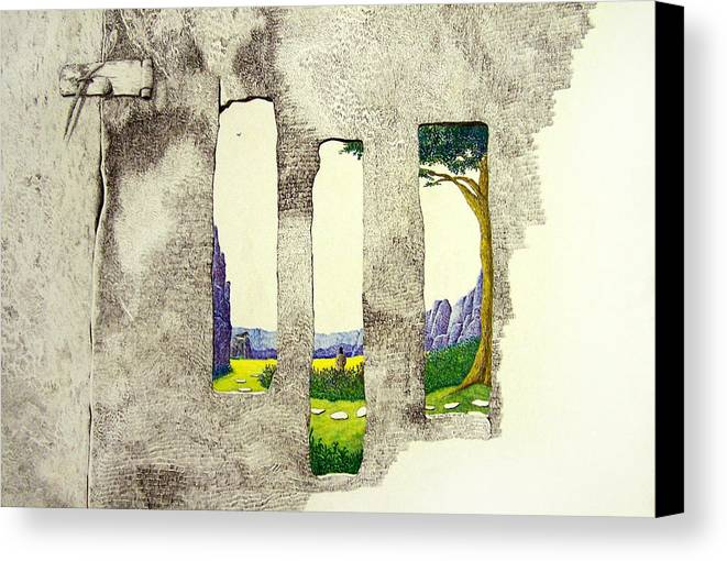 Imaginary Landscape. Canvas Print featuring the painting The Garden by A Robert Malcom