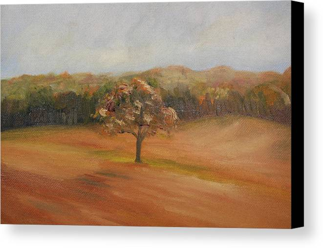 Oil Canvas Print featuring the painting The Lone Tree by Lisa Konkol