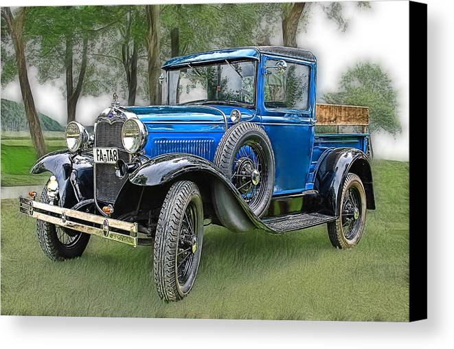 Automobile Canvas Print featuring the photograph The Old Blue One 2 by Joachim G Pinkawa