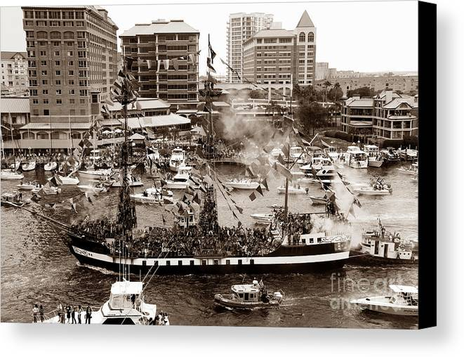 Gasparilla Canvas Print featuring the photograph The Old Crew Of Gaspar by David Lee Thompson