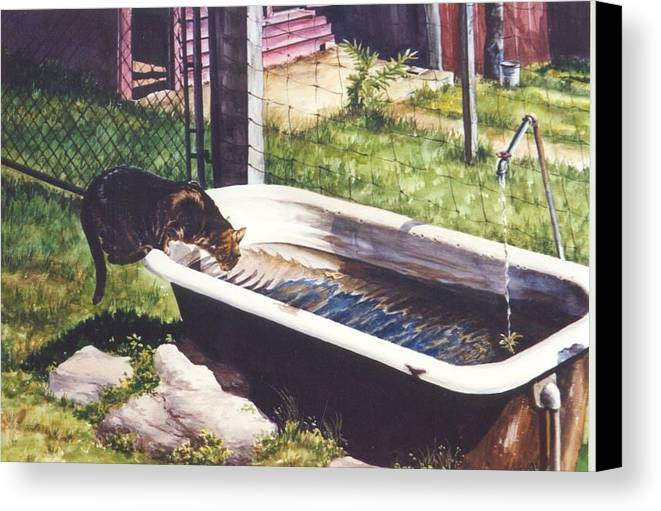 Cat Canvas Print featuring the painting The Paws That Refreshes by Marion Hylton