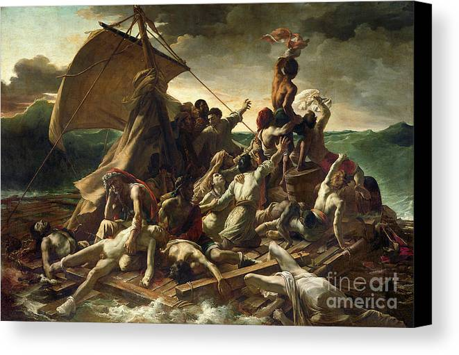 The Raft Of The Medusa Canvas Print featuring the painting The Raft Of The Medusa by Theodore Gericault