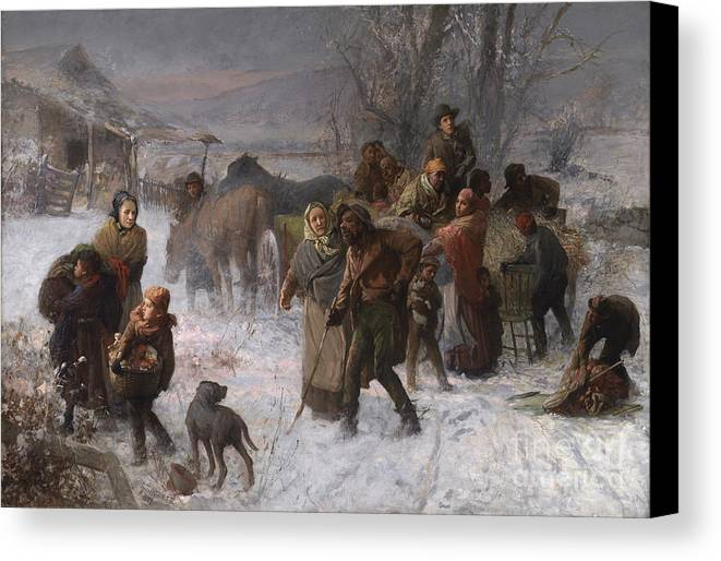 Abolition Canvas Print featuring the painting The Underground Railroad by Charles T Webber