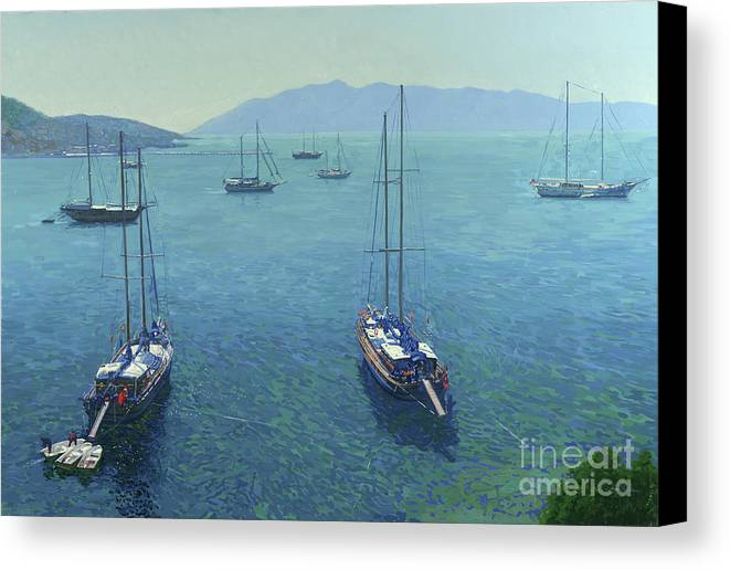 Yachts Canvas Print featuring the painting The Yachts by Simon Kozhin