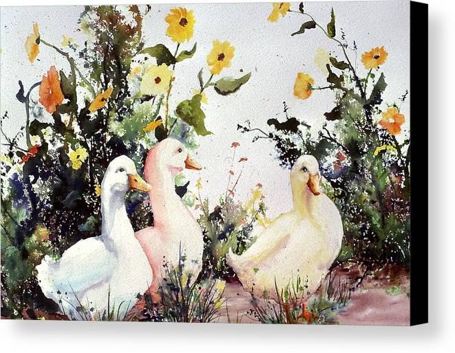 Animal Canvas Print featuring the painting Through The Weeds Large by Connie Williams