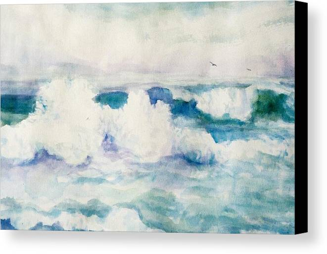 Pacific Ocean Canvas Print featuring the painting Thundering Breakers by Ruth Mabee