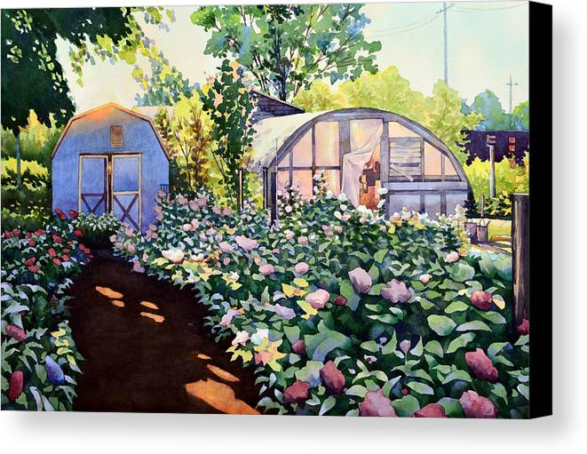 Watercolor Canvas Print featuring the painting Tool Shed And The Greenhouse by Mick Williams