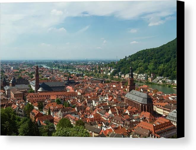 Gerlya Sunshine Canvas Print featuring the photograph Top View Of Heidelberg, Germany. by Gerlya Sunshine