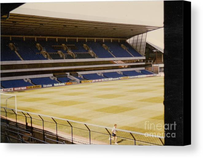Canvas Print featuring the photograph Tottenham - White Hart Lane - West Stand 2 - 1980s by Legendary Football Grounds