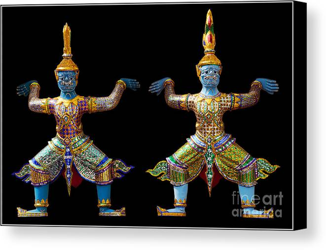 God Buddhism Thailand Culture Color Canvas Print featuring the photograph Two Gods by Ty Lee