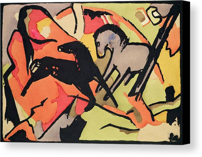 Xkh141490 Canvas Print featuring the painting Two Horses by Franz Marc