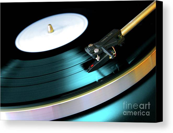 Abstract Canvas Print featuring the photograph Vinyl Record by Carlos Caetano