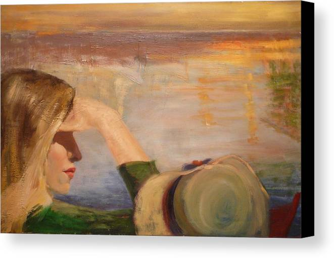 Side View Of A Girl Canvas Print featuring the painting Watching The Sails by Irena Jablonski