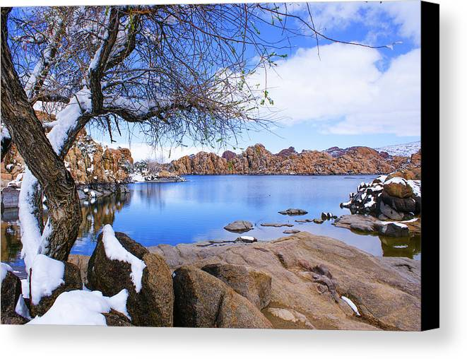 Arizona Canvas Print featuring the photograph Watson Snow by Jess Berry