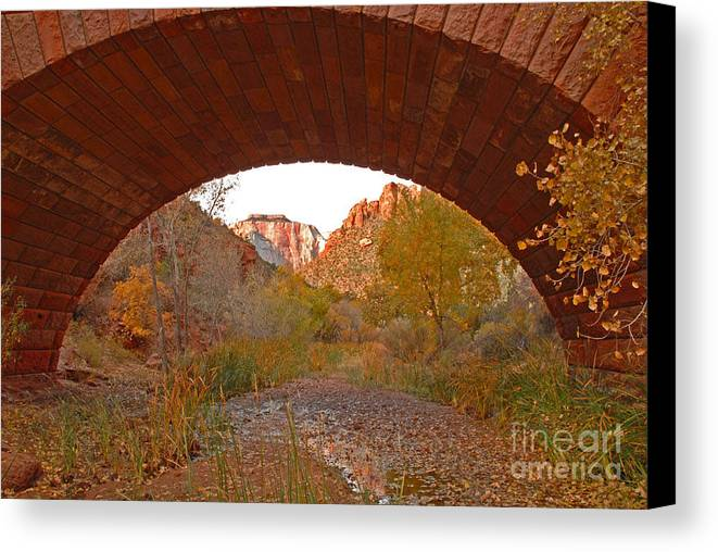 Utah Canvas Print featuring the photograph West Temple From Pine Creek Bridge by Dennis Hammer