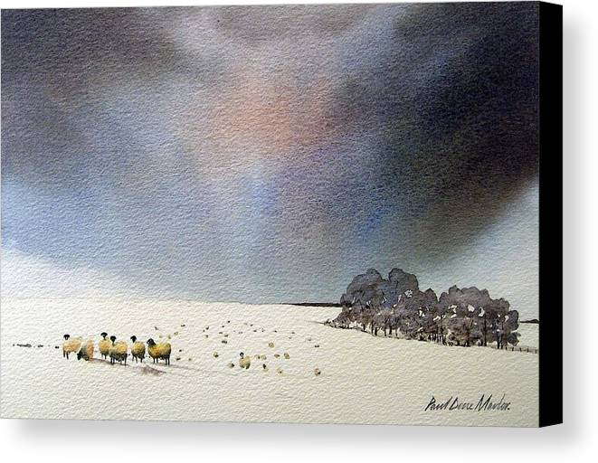 Landscape Canvas Print featuring the painting Winter Snow Swaledale by Paul Dene Marlor