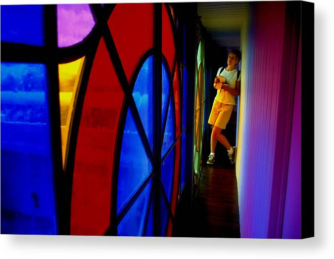 Colorful Canvas Print featuring the photograph Woman And Stained Glass by Carl Purcell